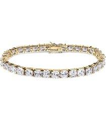cz by kenneth jay lane women's look of real 18k goldplated & crystal tennis bracelet