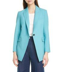 women's theory etiennette b good wool suit jacket, size 12 - blue/green