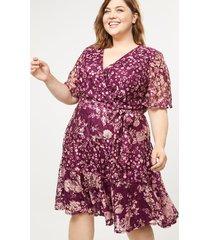 lane bryant women's floral lace faux-wrap fit & flare dress 16 burgundy floral
