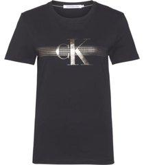 camiseta slim con logo metálico negro calvin klein
