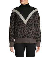 leopard-print colorblock turtleneck sweater