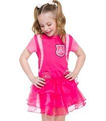 pijama fantasia skye veggi rosa - rosa - menina - algodã£o - dafiti