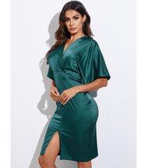 yoins satin backless tie-up design slit hem v-nevk half sleeves dress