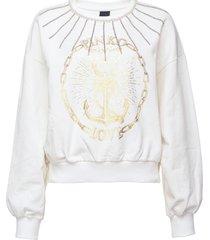 pinko stud embellished logo print sweatshirt - white