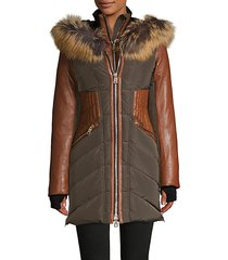 courvechal fox fur-trim chevron down coat