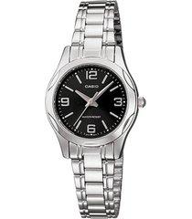 reloj analógico mujer casio ltp-1275d1a2 - plateado con negro
