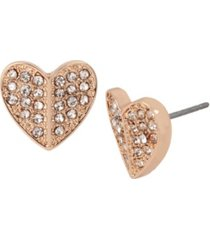 jessica simpson pave heart stud earrings
