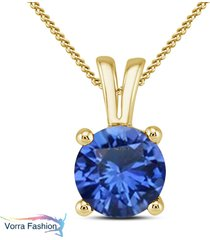 solitaire pendant with chain blue sapphire yellow gold plated pure 925 silver