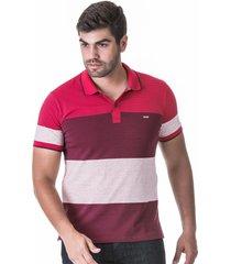 camisa polo listrada fio tinto vermelho escuro