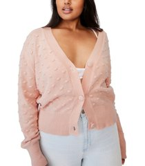 cotton on women's trendy plus size knobbly cardigan