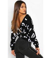 leopard print twist back sweater, black