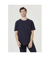 camiseta hering manga curta em malha de algodáo azul