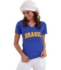 t-shirt manola brasil azul - azul - feminino - dafiti