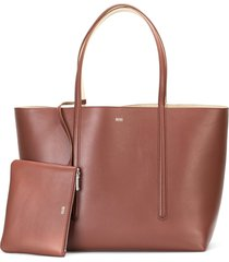 boss taylor reversible leather shopper - brown