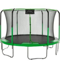 skytric 11' trampoline with top ring enclosure system-green