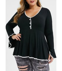 plus size contrast piping flare sleeve t-shirt