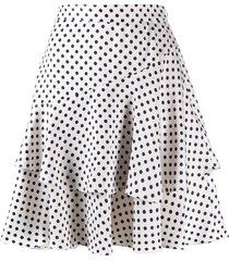 alexa chung aerial dot ruffled skirt - white