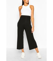 tall basic jersey culottes met hoge taille, zwart