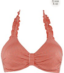 côte d'azur niet-voorgevormde bikini top | wired unpadded red and white - 85f