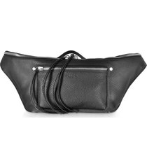 rag & bone designer handbags, black leather large elliot fanny pack / belt bag