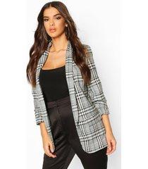 ruched sleeve flannel blazer, grey