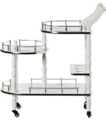 bold tones wood serving bar cart tea trolley with 3 tier shelves and rolling wheels