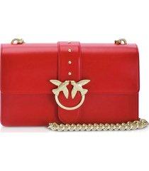 pinko designer handbags, red love classic simply shoulder bag
