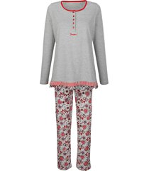 pyjama simone grijs gemêleerd/bordeaux/marine