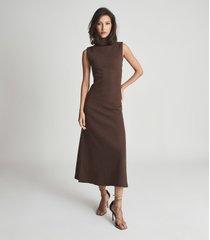 reiss alyssa - open back midi dress in chocolate, womens, size 14
