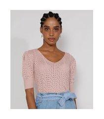 blusa de tricô feminina manga bufante decote v rosê