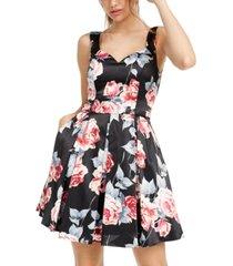 trixxi juniors' floral-print fit & flare dress
