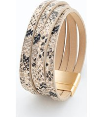 alanna snake print wrap bracelet - black