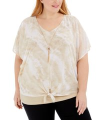 jm collection plus size tie-front tie-dyed necklace top, created for macy's
