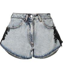 almaz bead-embellished denim shorts - grey