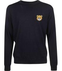 moschino teddy bear patch sweater