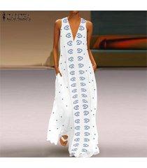 zanzea vestido largo sin mangas con volantes y vestidos largos de verano para mujer -azul