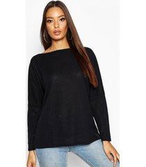 oversized geribbelde top, zwart