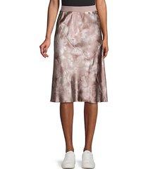 silk tie-dye pull-on skirt