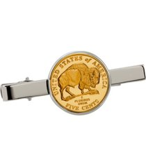 american coin treasures gold-layered westward journey bison nickel coin tie clip