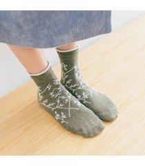 womens exquisite vogue wild jacquard cotton calze tubo centrale traspirante calze