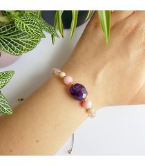 ametyst, jadeit, kamień słoneczny bransoletka