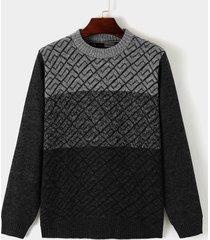 suéter de punto redondo cuello de bloque de color cómodo informal para hombre