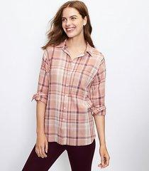 loft plaid pocket tunic shirt