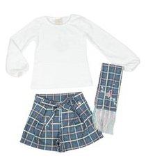 conjunto blusa, cachecol e shorts xadrez kiki xodó
