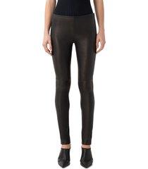 women's akris punto lambskin leather & jersey pants, size 12 - black