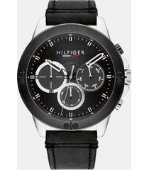 tommy hilfiger men's explorer stainless steel sub-dials watch with black leather strap black/silver -