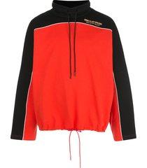 martine rose colour-block drawstring sweatshirt - red