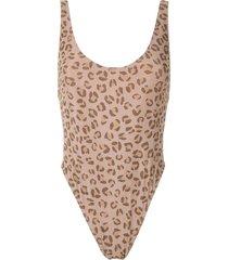 amir slama leopard-print open back one piece - neutrals