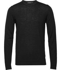 newman-perfect merino gebreide trui met ronde kraag zwart j. lindeberg
