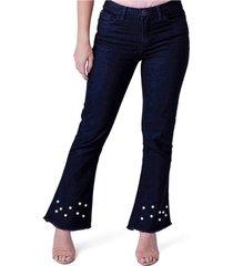 calã§a jeans equivoco cropped laãs preta - preto - feminino - dafiti